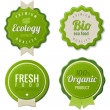 Eco Vintage Labels Bio template set. Ecology theme. Retro logo template design. Extra High quality. 3D Vector. — Vector de stock