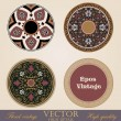 Vintage circle Frames and Borders design elements collection. Folklore vector Floral ornament. High Detailed.  — Imagen vectorial