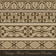 Vintage border seamless elements collection. Vector abstract Floral ornament. Vector vintage collection — Imagens vectoriais em stock