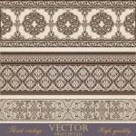 Vintage Border design elements collection. Retro Floral ornament. High Detailed. Super Quality Vector. — Stock Vector