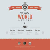 Vintage website design template. Coffee theme. HTML5 Retro style. Vector. — Stock Vector