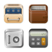 Icons for user interface design templates. Application logo template for Finance and Business apps. Drawer, Wallet, Vault, Calculator. UI Square icons set. High detail vector icon pack. Editable. — Stock Vector