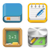 Icons pack for Education applications. Book, Notepad, Blackboard, Pencil box. UI Square icons set. User interace concepts & templates. High detail vector icon pack. Editable. — Stock Vector