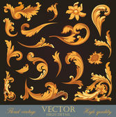 Gold Vintage Elements. High detail Floral ornament. Flourish pattern. Vector. — Stock Vector