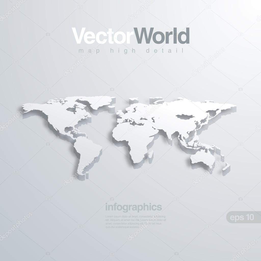 世界地图 3d 矢量图.有用的信息图表全球概念