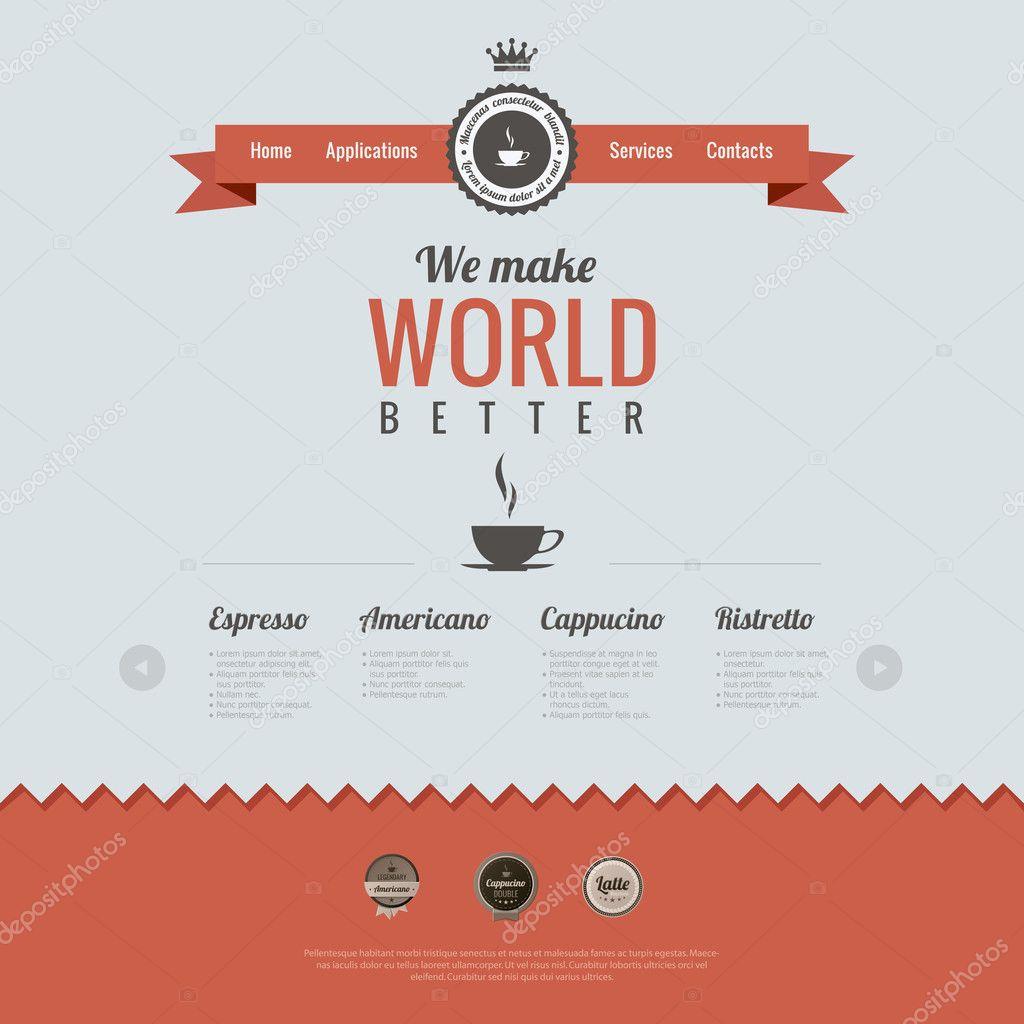 Vector Illustration Web Designs: Vintage Website Design Template. Coffee Theme. HTML5 Retro