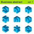 Business blue vector logo template set. Logic icon — Stock Vector