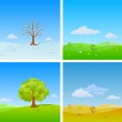 Tree in four Seasons: winter, spring, summer, autumn. Background changing seasons — Stock Vector #26495341