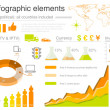 Infographics elements with icons For business and finance reports, statistics, diagram graph — Stock vektor