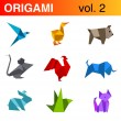 Origami animals logo templates collection 2: bird, duck, dog, mouse, rooster, bull, rabbit, cat. Vector.  — Stock Vector