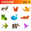 Origami animals logo template set 3: Dog, squirrel, dragon, fox, swan, fish, bear, bird icons. Vector.  — Stock vektor