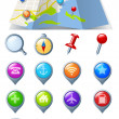Navigation Icon pack 3D glossy icons. Map Abstract — Stock Vector