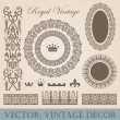 Vintage elements pack. Frames, Borders, Decor. High detail vector. — Stock Vector