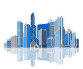 Cityscape. Skyscraper city with reflection on white background. Isolated. Skyscrapers. Business theme. Vector. Editable. — Stock Vector