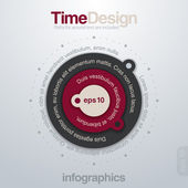Infographics design elements template. Time concept. Round graph charts. Vector. Editable. Paths for text are included. — Stock Vector