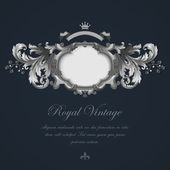 Vintage Greeting card design. Silver Vector Template Luxury Wedding invitation template. — Stock Vector