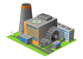 Factory isometric view. Vector game object. — Stock Vector
