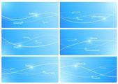 Créer des modèles de présentation. fond pour vos logo, slogan, texte résumé de fond etc. bleu. lignes avec points. concept de marketing commercial. surface. vector. modifiable. — Vecteur