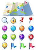 Navegación icon pack 3d brillante iconos. mapa Resumen — Vector de stock