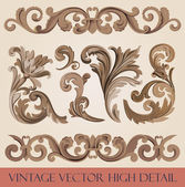 Vintage floral elements pack. Flourish ornament border. High detail vector. Royal style ornate. — Stock Vector
