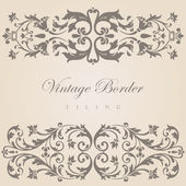 Vintage border tiling elements collection. Vector abstract Floral ornament. — Stock Vector