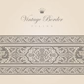 Vintage border tiling collection. Vector abstract Floral ornament. Super High detail Vector. — Cтоковый вектор