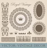 Vintage elements pack. Frames, Borders, Decor. High detail vector. — Stock Vector