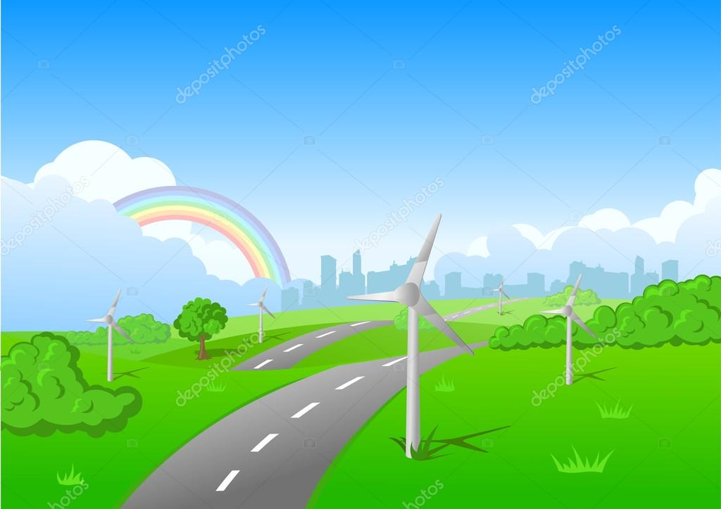 Green grass blue sky clouds background with ecology wind ...