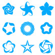 Star abstract logo template set. Blue Business icons Concepts. 5 point vector stars. Vector. — Imagens vectoriais em stock