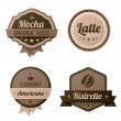 Stock Vector: Coffee Vintage Labels logo template collection. Cafe Retro style. Mocha, Latte, Americano, Ristretto. Vector icons.