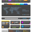 Stock Vector: Web design UI elements toolkit pack. Interface Colorful Dark theme. Vector. Editable.