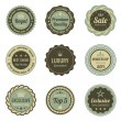 Vintage Labels set. Sale, Membership, Luxury style. Retro design. High quality. Retro logo template. High detail vector.  — Stock Vector