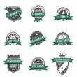 Vintage Labels set of trendy designs. Retro logo template High quality. Vector. — Stock Vector #26500331