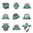 Vintage Labels set of trendy designs. Retro logo template High quality. Vector. — Stockvector  #26500331