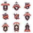 Vintage Labels set. Place your logo on shield. Copyspace. Shield with ribbon and crown. Coat of arms. Retro design. High quality. — Stock Vector