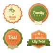 Stock Vector: Travel Vintage Labels logo template collection. Tourism Stickers Retro style. Beach, Family tour, City Hotel badge icons. Vector. Editable.