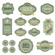 Stock Vector: Vintage Labels set. SALE, Discount, Membership, Premium Quality, Exclusive label designs. Badge icons collection. Retro logo template. High quality vector.