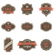 Royalty-Free Stock Obraz wektorowy: Vintage Labels set. Retro shields and stickers such a logo. Ribbon and crown. Retro design. High quality.