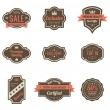 Stock Vector: Vintage Labels set. Retro shields and stickers such logo. Ribbon and crown. Retro design. High quality.