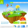 Flying Island: Web Promo Concept — Stock vektor
