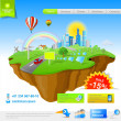 Flying Island: Web Promo Concept — Stockvectorbeeld