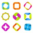 Vector de stock : Abstract logo templates. Infinite shapes. Square icons set.