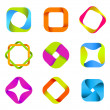 Stockvektor : Abstract logo templates. Infinite shapes. Square icons set.