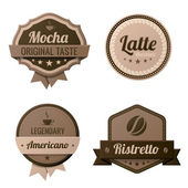 Coffee Vintage Labels logo template collection. Cafe Retro style. Mocha, Latte, Americano, Ristretto. Vector icons. — Stock Vector
