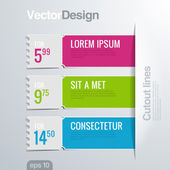 Infographics cutout lines design template. Vector high detail. Creative banner concept. — Stock Vector