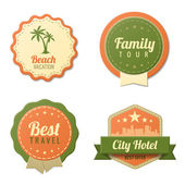 Travel Vintage Labels logo template collection. Tourism Stickers Retro style. Beach, Family tour, City Hotel badge icons. Vector. Editable. — Cтоковый вектор