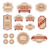 Sale discount RETRO labels. Old Design Stickers pack. Premium, Gold, Silver, Bronze Vintage Labels. Retro logo template. Trendy design. High quality. — Stock Vector