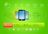 Website template: Product web promo Vector page Design. Smartphones. — Stock Vector