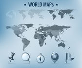World map vector: political, dotted, solid. Navigation Icon pack. — 图库矢量图片