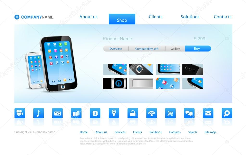 Website template online shopping concept smartphone sell for Website design for online shopping